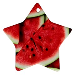 Fresh Watermelon Slices Texture Ornament (Star)