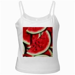 Fresh Watermelon Slices Texture White Spaghetti Tank