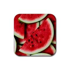 Fresh Watermelon Slices Texture Rubber Coaster (Square)