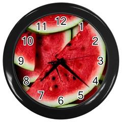 Fresh Watermelon Slices Texture Wall Clocks (Black)