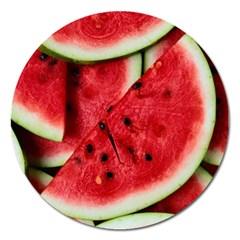 Fresh Watermelon Slices Texture Magnet 5  (Round)