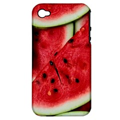 Fresh Watermelon Slices Texture Apple iPhone 4/4S Hardshell Case (PC+Silicone)