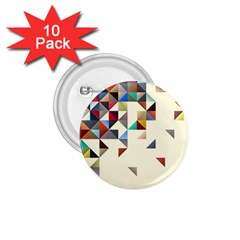 Retro Pattern Of Geometric Shapes 1.75  Buttons (10 pack)