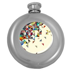 Retro Pattern Of Geometric Shapes Round Hip Flask (5 oz)