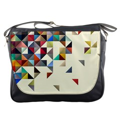 Retro Pattern Of Geometric Shapes Messenger Bags