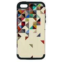 Retro Pattern Of Geometric Shapes Apple iPhone 5 Hardshell Case (PC+Silicone)