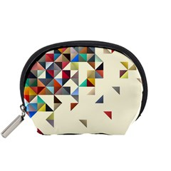 Retro Pattern Of Geometric Shapes Accessory Pouches (Small)
