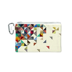Retro Pattern Of Geometric Shapes Canvas Cosmetic Bag (S)