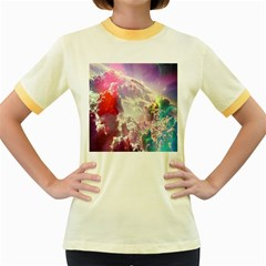 Clouds Multicolor Fantasy Art Skies Women s Fitted Ringer T-Shirts