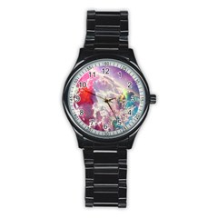Clouds Multicolor Fantasy Art Skies Stainless Steel Round Watch