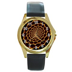 Honeycomb Art Round Gold Metal Watch