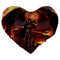 Fantasy Art Fire Heroes Heroes Of Might And Magic Heroes Of Might And Magic Vi Knights Magic Repost Large 19  Premium Flano Heart Shape Cushions