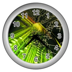 Electronics Machine Technology Circuit Electronic Computer Technics Detail Psychedelic Abstract Pattern Wall Clocks (Silver)
