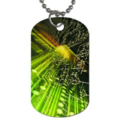Electronics Machine Technology Circuit Electronic Computer Technics Detail Psychedelic Abstract Pattern Dog Tag (One Side)