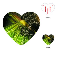 Electronics Machine Technology Circuit Electronic Computer Technics Detail Psychedelic Abstract Pattern Playing Cards (Heart)