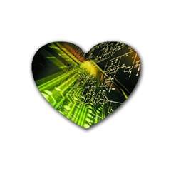 Electronics Machine Technology Circuit Electronic Computer Technics Detail Psychedelic Abstract Pattern Rubber Coaster (Heart)