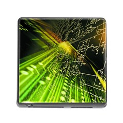 Electronics Machine Technology Circuit Electronic Computer Technics Detail Psychedelic Abstract Pattern Memory Card Reader (Square)