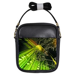 Electronics Machine Technology Circuit Electronic Computer Technics Detail Psychedelic Abstract Pattern Girls Sling Bags