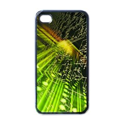Electronics Machine Technology Circuit Electronic Computer Technics Detail Psychedelic Abstract Pattern Apple iPhone 4 Case (Black)
