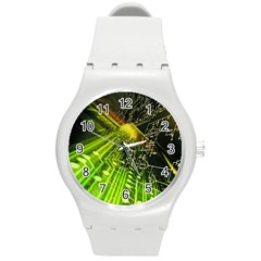Electronics Machine Technology Circuit Electronic Computer Technics Detail Psychedelic Abstract Pattern Round Plastic Sport Watch (M)