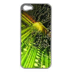 Electronics Machine Technology Circuit Electronic Computer Technics Detail Psychedelic Abstract Pattern Apple iPhone 5 Case (Silver)