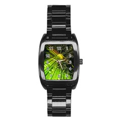 Electronics Machine Technology Circuit Electronic Computer Technics Detail Psychedelic Abstract Pattern Stainless Steel Barrel Watch