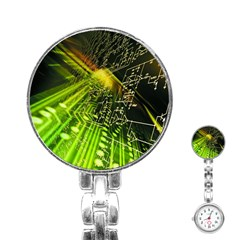 Electronics Machine Technology Circuit Electronic Computer Technics Detail Psychedelic Abstract Pattern Stainless Steel Nurses Watch
