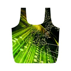 Electronics Machine Technology Circuit Electronic Computer Technics Detail Psychedelic Abstract Pattern Full Print Recycle Bags (M)