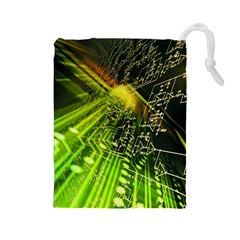 Electronics Machine Technology Circuit Electronic Computer Technics Detail Psychedelic Abstract Pattern Drawstring Pouches (Large)