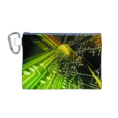 Electronics Machine Technology Circuit Electronic Computer Technics Detail Psychedelic Abstract Pattern Canvas Cosmetic Bag (M)