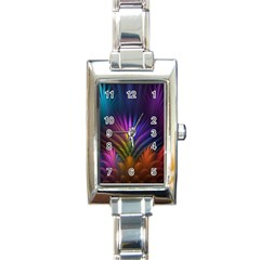 Colored Rays Symmetry Feather Art Rectangle Italian Charm Watch