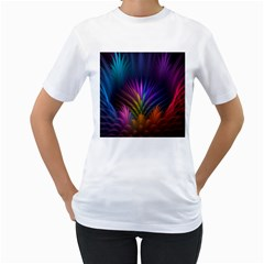 Colored Rays Symmetry Feather Art Women s T-Shirt (White) (Two Sided)