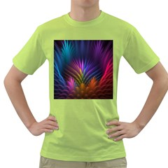 Colored Rays Symmetry Feather Art Green T-Shirt