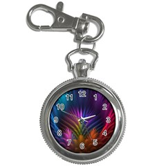 Colored Rays Symmetry Feather Art Key Chain Watches