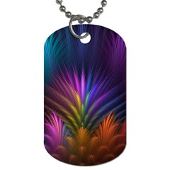 Colored Rays Symmetry Feather Art Dog Tag (One Side)
