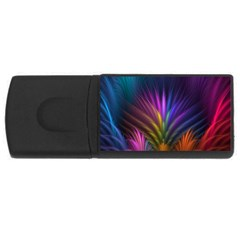 Colored Rays Symmetry Feather Art USB Flash Drive Rectangular (1 GB)