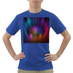Colored Rays Symmetry Feather Art Dark T-Shirt