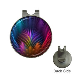 Colored Rays Symmetry Feather Art Hat Clips with Golf Markers