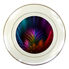 Colored Rays Symmetry Feather Art Porcelain Plates