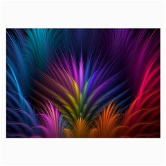 Colored Rays Symmetry Feather Art Large Glasses Cloth (2-Side)