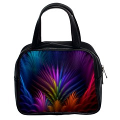 Colored Rays Symmetry Feather Art Classic Handbags (2 Sides)