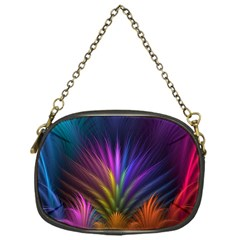 Colored Rays Symmetry Feather Art Chain Purses (One Side)