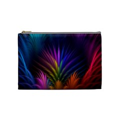 Colored Rays Symmetry Feather Art Cosmetic Bag (Medium)