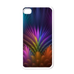 Colored Rays Symmetry Feather Art Apple iPhone 4 Case (White)