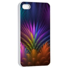 Colored Rays Symmetry Feather Art Apple iPhone 4/4s Seamless Case (White)