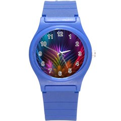 Colored Rays Symmetry Feather Art Round Plastic Sport Watch (S)