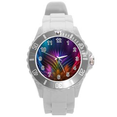 Colored Rays Symmetry Feather Art Round Plastic Sport Watch (L)