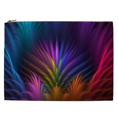Colored Rays Symmetry Feather Art Cosmetic Bag (XXL)