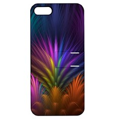 Colored Rays Symmetry Feather Art Apple iPhone 5 Hardshell Case with Stand
