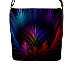 Colored Rays Symmetry Feather Art Flap Messenger Bag (L)